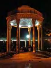 Hafiz's mausoleum at night.
